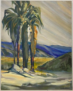 "Vintage Modernist ""Palm Tree"" Original Oil Painting"