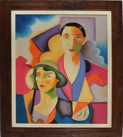 Vintage Modernist Portrait Oil Painting of Two Women