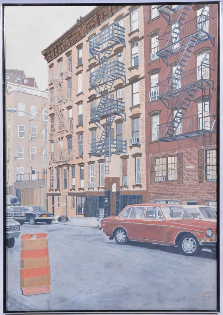 Vintage New York Urban Street Scene Realist Painting '70's - Gray Landscape Painting by Unknown