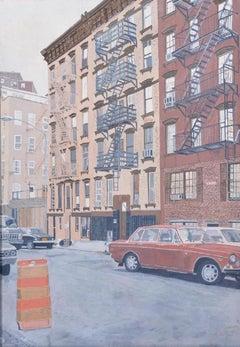 Vintage New York Urban Street Scene Realist Painting '70's