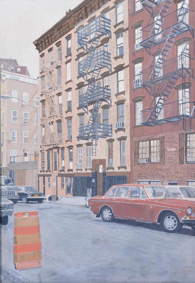 Unknown Landscape Painting - Vintage New York Urban Street Scene Realist Painting '70's