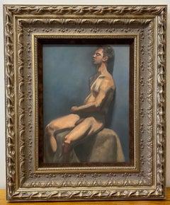 Vintage Nude Male Oil Painting