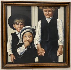 "Vintage Oil Painting ""Amish Children"" by A. Hinck"