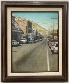 Vintage Oil Painting California Sierra Foothills Town by D. Grech c.1997