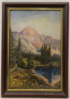 Vintage Oil Painting Luminous Mountain Landscape by F.A. Millard c.1925