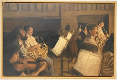 "Vintage Oil Painting ""Strings and Brass"" Symphony Oil Painting c.1989"