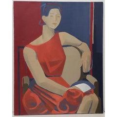 "Vintage Oil Portrait ""Woman in Red"" c.1960s"