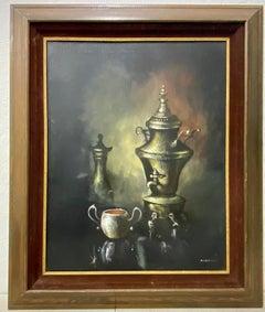 Vintage Original Still Life Oil Painting W/ Silver Coffee Chafer by Parisch C.19