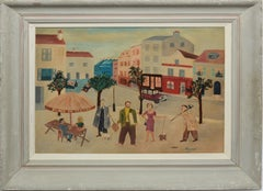Vintage Paris Modern Street Scene Signed Oil Painting by Rivers