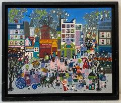 "Vintage Parisian Folk Art ""Moulin Rouge Street Scene"" Original Painting 20th C."
