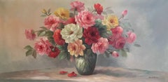 Vintage Roses, Large French Shabby Chic Oil Painting