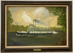 "Vintage ""Sacramento River Boat"" Original Oil Painting by Terrel c.1970s"