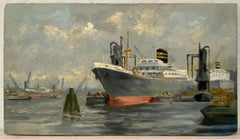 "Vintage ""Ship Yard"" Oil Painting C.1940s"