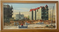 Vintage Stark Cityscape W/ Lone Figure Oil Painting by R. Roberts C.1960
