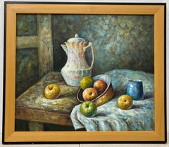 Vintage Still Life Oil Painting by W. Adam C.1970