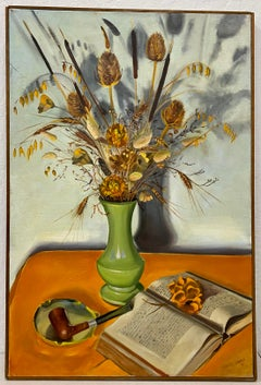 Vintage Still Life Oil Painting With Dried Flowers in a Green Vase by J. Viola C
