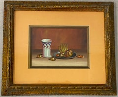 Vintage Still Life Painting with Fruit and Porcelain Cup c.1970