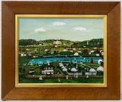 """Vintage """"View to the Town Hall - Westport, Connecticut"""" Folk Art Painting c.1979"""
