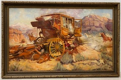 Vintage Western Wagon Ambush Gunfight Oil Painting by Edward Macstay C.1937