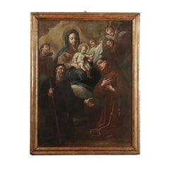 Virgin Mary with Baby Jesus on Throne between two Saints, 17th Century