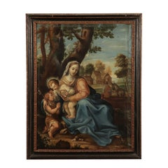 Virgin Mary with Child and Young Saint John Oil on Canvas 1600