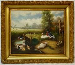 Vito Tongiani Country Ducks Painting 20th c.