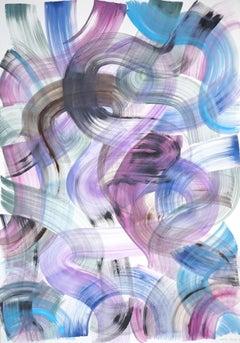 Vivid Cool Tone Curves, Graffiti Style Acrylic Painting on Paper, Organic Shapes