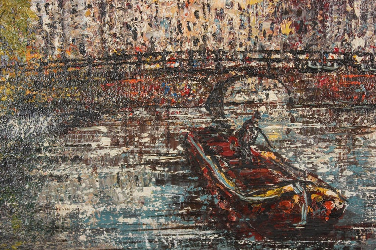 Voorburgwal Amsterdam, Holland - Abstract Impressionist Painting by Unknown