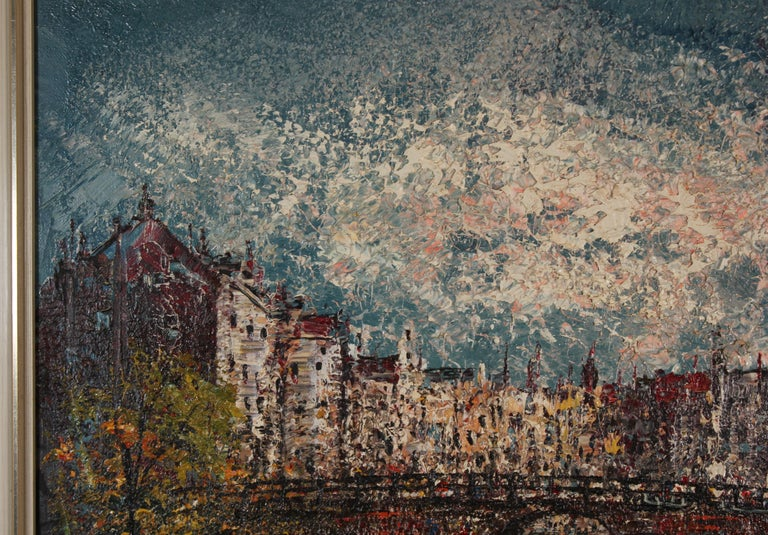 Voorburgwal Amsterdam, Holland - Gray Landscape Painting by Unknown