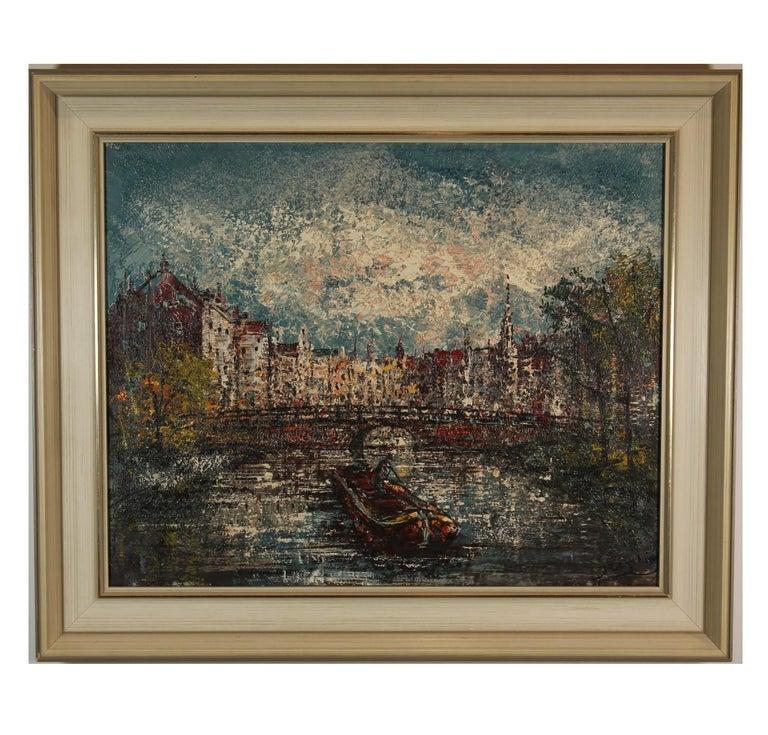 Unknown Landscape Painting - Voorburgwal Amsterdam, Holland