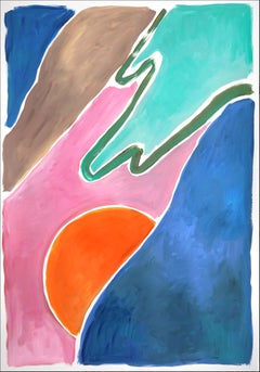 Warm Sunset Dunes, Tropical Vintage Miami, Acrylic Painting on Paper, Abstract