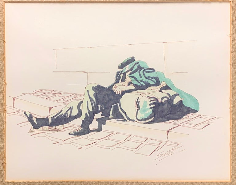 Watercolor and Pencil by Scott of Homeless - Painting by Unknown