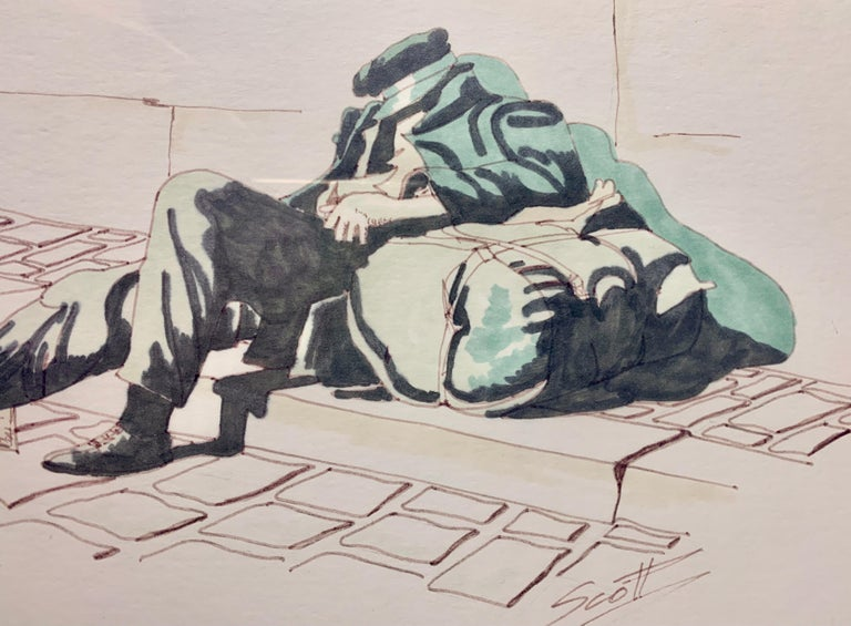 Watercolor and Pencil by Scott of Homeless - Impressionist Painting by Unknown