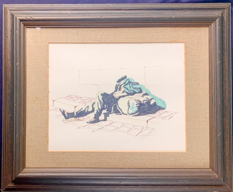 Unknown Figurative Painting - Watercolor and Pencil by Scott of Homeless