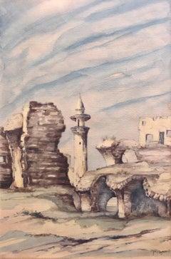 Watercolor Jerusalem Israeli Naive Landscape Painting