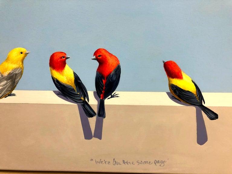 This is a bright contemporary and realist painting with four colorful birds. They are all contemplating a painting of birds that's floating in the blue sky above them.