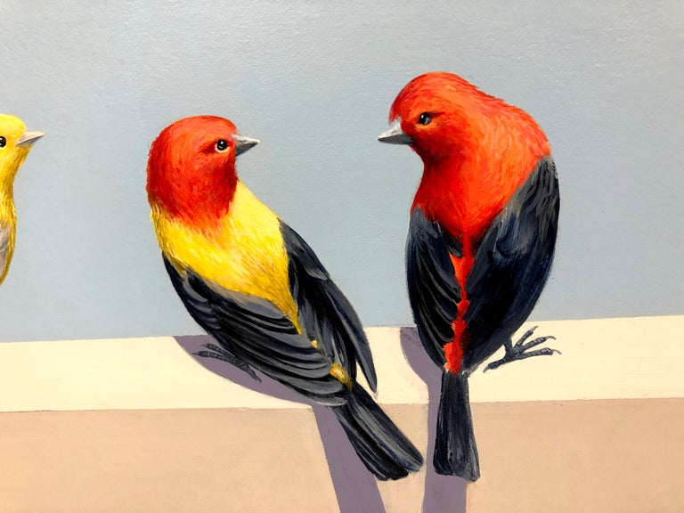 We're on the Same Page, Colorful Birds with Blue Sky, realism painting For Sale 2