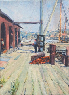 'Wharf with Dock Workers', American School, Oakland, San Francisco Bay Area Oil