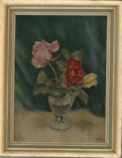 W.H.G - Framed Mid 20th Century Oil, Still Life, Two Roses
