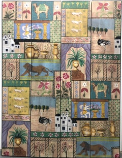 Whimsical Hand Painted Four Panel Screen