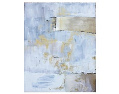 White and Gold Abstract Expressionist Painting