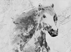 White Stallion Horse Painting Fine Art Hand Embellished Giclee on Canvas