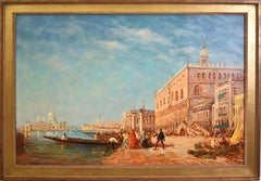 William Ehrig Signed Antique Large Impressionist Oil Painting of Venice Italy