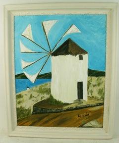 Windmill on Mykonos Landscape