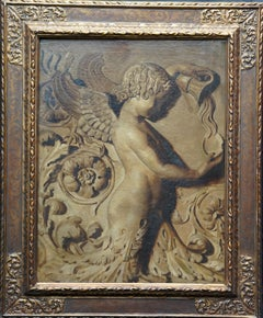 Winged Angel Cherub with Ewer - Trompe L'oeil Victorian 19thC art oil painting