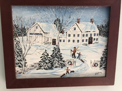 Winter Folk Art Oil Painting