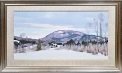 Winter Impressionist Snow Covered Mount Wachusett  Landscape Oil Painting