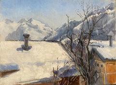 Winter Scene Tirol Kitzbuhel, Impressionist Landscape, Signed Oil Painting