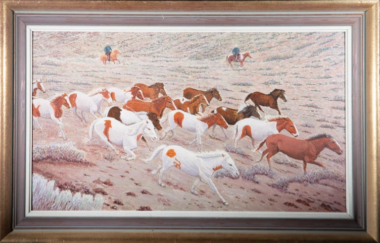 Unknown Landscape Painting - W.M. - 20th Century Oil, Herd of Wild Horses