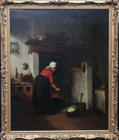 Woman Cooking in a Cottage Interior - Dutch Victorian genre art oil painting